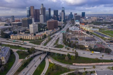 An aerial shot of downtown Los Angeles.