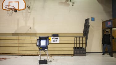 An empty polling station.