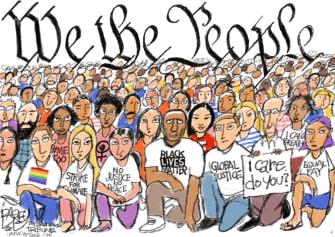 Editorial Cartoon U.S. George Floyd protests diversity we the people