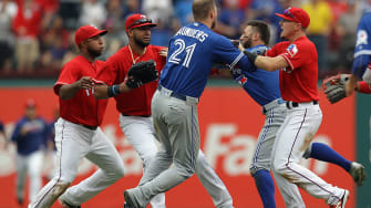 Rangers and Blue Jays get into huge fight.