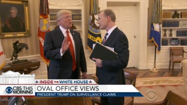 President Trump abruptly ends a CBS interview after his wiretapping claims come up.