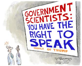 Political Cartoon U.S. Trump doctors Trump coronavirus