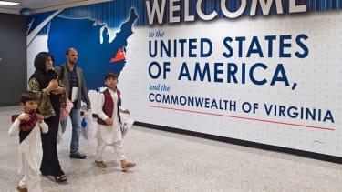 International travelers arrive in Virginia.