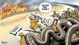 Political Cartoon U.S. stimulus bill approved preserves economy fire