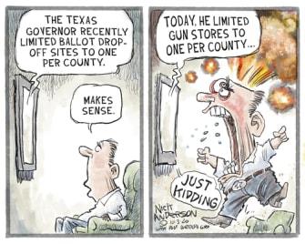 Editorial Cartoon U.S. Texas voting guns