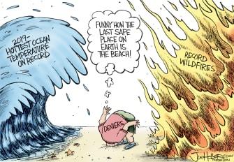 Editorial Cartoon World climate change denial Australia wildfires