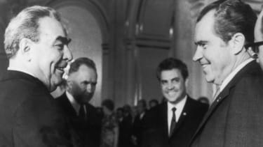 President Nixon meets Russian President Leonid Brezhnev in Moscow on May 31, 1972.