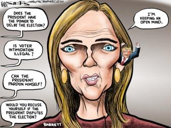 Political Cartoon U.S. Amy Coney Barrett Trump