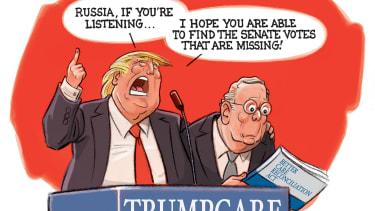 Political cartoon U.S. GOP health care bill Trump Mitch McConnell Russian hacking