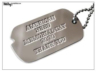 Editorial Cartoon U.S. memorial day dog tags