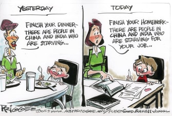 Editorial Cartoon U.S. China India Jobs Report capitalism hunger cliche