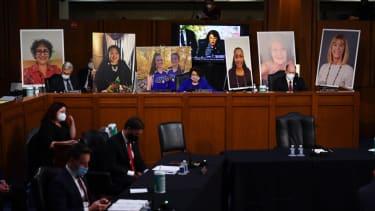 Democrats at Amy Coney Barretts nomination hearing.