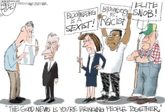 Political Cartoon U.S. Michael Bloomberg Democrats racism sexism billionaire voters