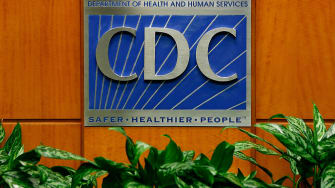 A podium with the logo for the Centers for Disease Control and Prevention at the Tom Harkin Global Communications Center on October 5, 2014 in Atlanta, Georgia. A podium with the logo for the