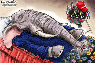 Political Cartoon U.S. GOP funeral Trump Impeachment