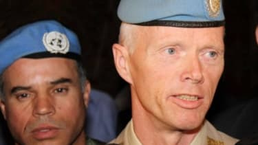 Major General Robert Mood of Norway, who will lead a U.N. ceasefire observer mission in Syria, arrives in Damascus on April 29.