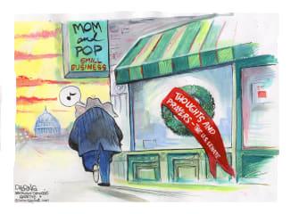Political Cartoon U.S. GOP congress COVID relief small business