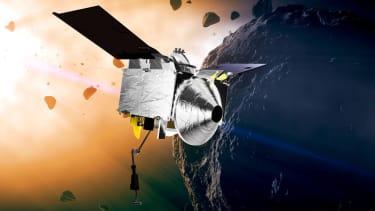 Artist concept of OSIRIS-REx at asteroid Bennu.