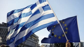 Greek and E.U. Flags