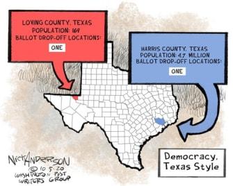 Political Cartoon U.S. Texas ballot boxes