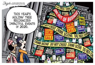 EditorialCartoon U.S. 2020 holiday tree COVID Trump