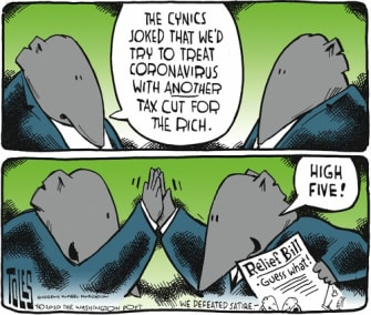 Political Cartoon U.S. GOP flattens curve tax cut for rich beats satire