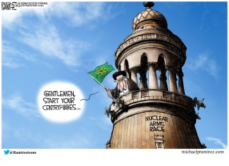 Editorial Cartoon U.S. iran nuclear race