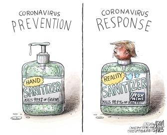 Political Cartoon U.S. coronavirus Trump response kills facts hand sanitizer