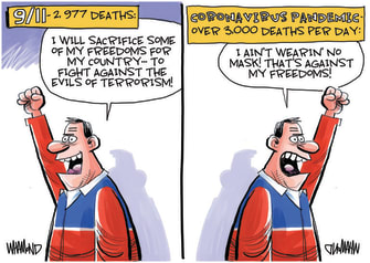 Editorial Cartoon U.S. COVID September 11 mask deaths