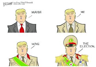 Political Cartoon U.S. Trump dictator move election