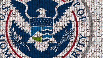The DHS logo and the faces of people.