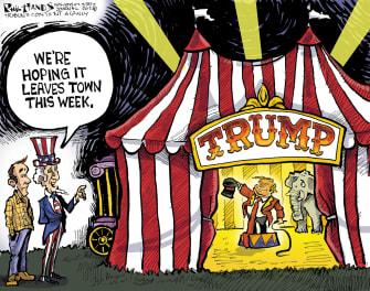 Political Cartoon U.S. Trump 2020 circus