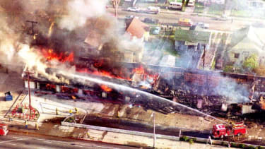 An aerial view of damage during the 1992 L.A. Riots.