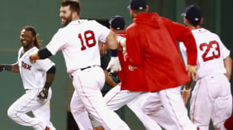 Red Sox celebrate win over Blue Jays