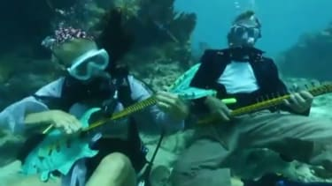 Watch hundreds of divers joyfully rock out at an underwater music festival