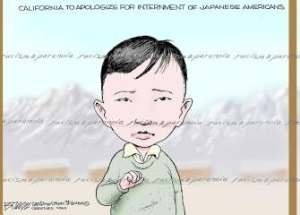 Editorial Cartoon U.S. California World War II Japanese Americans internment camps