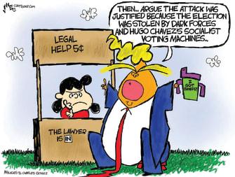 Political Cartoon U.S. Trump impeachment defense lucy peanuts