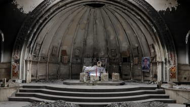 The altar of a damaged church in the town of Qaraqosh, south of Mosul.