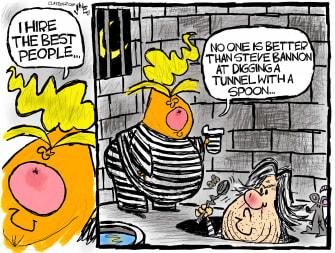 Political Cartoon U.S. Trump Bannon arrest