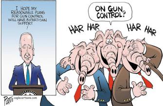 Political Cartoon U.S. biden gop gun control