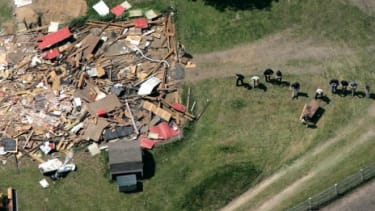 An FBI-led crew probes the ground in search of Jimmy Hoffa's body near a demolished barn on a horse farm in Milford Township, Mich., on May 24, 2006.