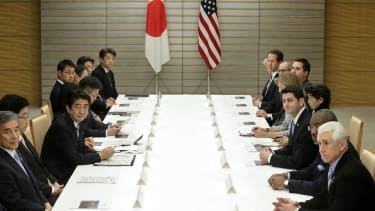 Japanese and American leaders meet to discuss the Trans-Pacific Partnership.