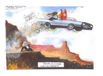 Political Cartoon U.S. Liz cheney greene gop thelma and louise