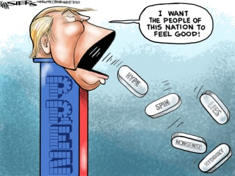 Political Cartoon U.S. Trump pez coronavirus hydroxychloroquine