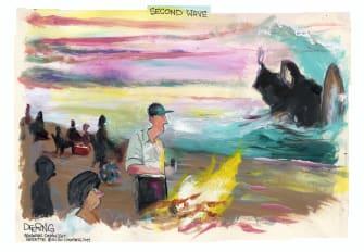 Editorial Cartoon U.S. beaches reopening second wave coronavirus