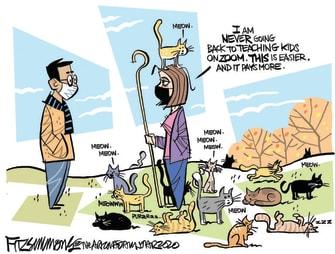 Editorial Cartoon U.S. remote learning teacher herding cats