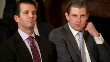 Donald Trump Jr. and Eric Trump make a rare visit to the White House.