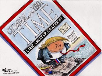 Political Cartoon U.S. Trump Criminal Of the Year Time Magazine Greta