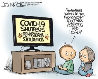 Political Cartoon U.S. Pennsylvania Coronavirus Department of Education students asbestos lead poisoning