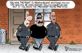 Political Cartoon U.S. Trump Roger Stone Rod Blagojevich pardons criminals arrest jail